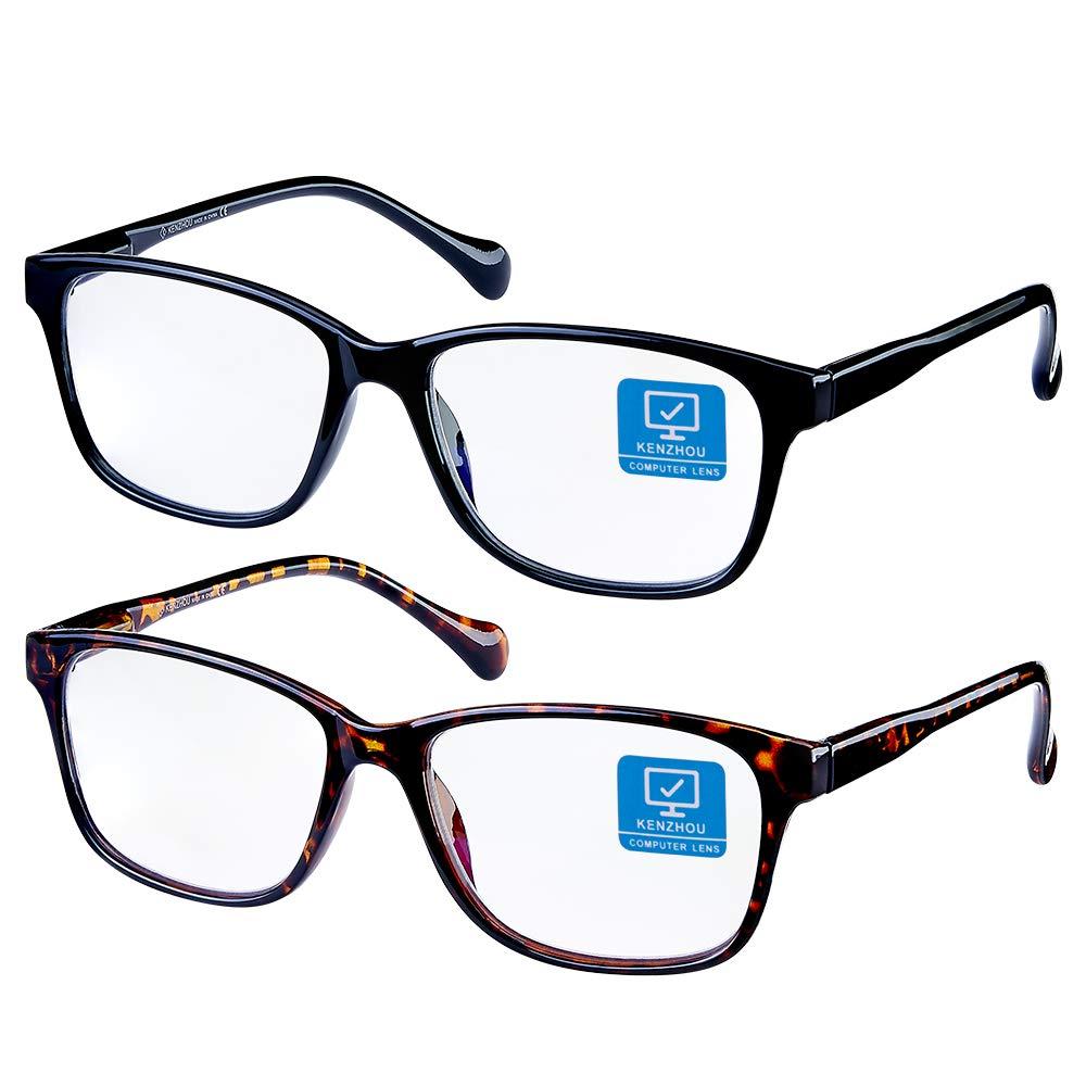 K KENZHOU Blue Light Blocking Computer Glasses 2 Pack Anti Eye Eyestrain Unisex(Men/Women) Glasses with Spring Hinges UV Protection Twilight and Black by K KENZHOU