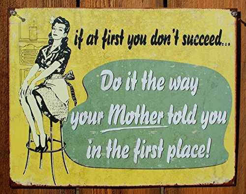 If At First - Mom Tin Sign 16 x 13in ()