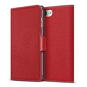 BONAVENTURA iPhone 8/7 Leather Wallet Case w/ Magnet Lock (European Full-Grain PERLINGER Leather) | Luxury Flip Cover Case w/ Magnet [iPhone 8/7 | Red]
