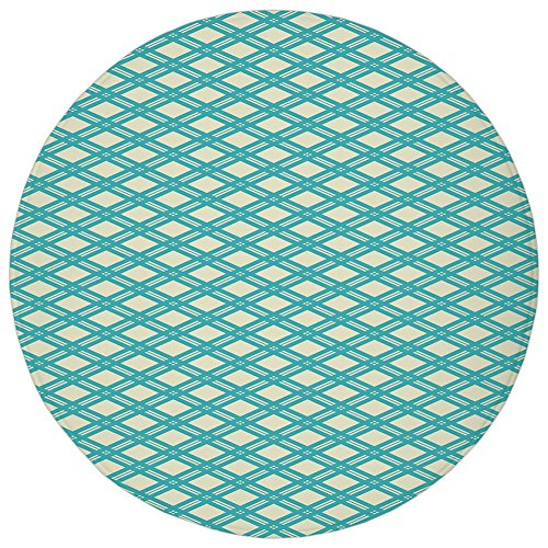 (Round Rug Mat Carpet,Geometric,Diagonal and Blue Stripes Rhombus Abstract Modern Ornamental Pattern Decorative,Turquoise Pale Yellow,Flannel Microfiber Non-slip Soft Absorbent,for Kitchen Floor Bathro)