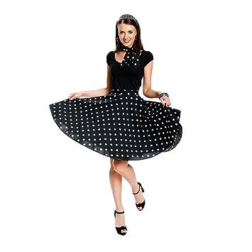 Kostümplanet® Rock-n Roll Rock Kostüm schwarz weiß gepunkteter Rock  knielang mit passendem Schal 88a73b65c9