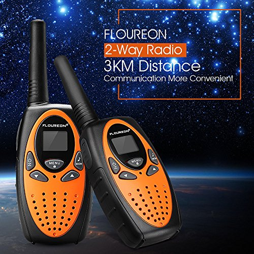 FLOUREON Walkie Talkies Two Way Radios 2 Packs 22 Channel 3000M (MAX 5000M open field) UHF Long Range Handheld Walkie Talky (Orange/Black)