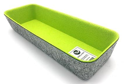 WELAXY Felt Office Drawer Organizers Utensil Drawer Organizer (Light Green)