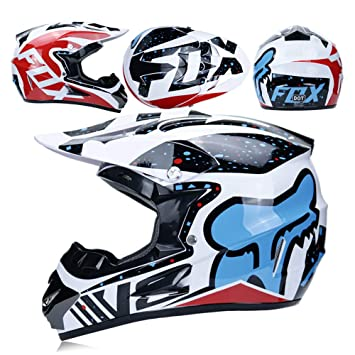 WLBRIGHT Adulto Motocross Casco Gafas De Regalo Máscara Guantes Fox Moto Racing Casco Completo Cara para