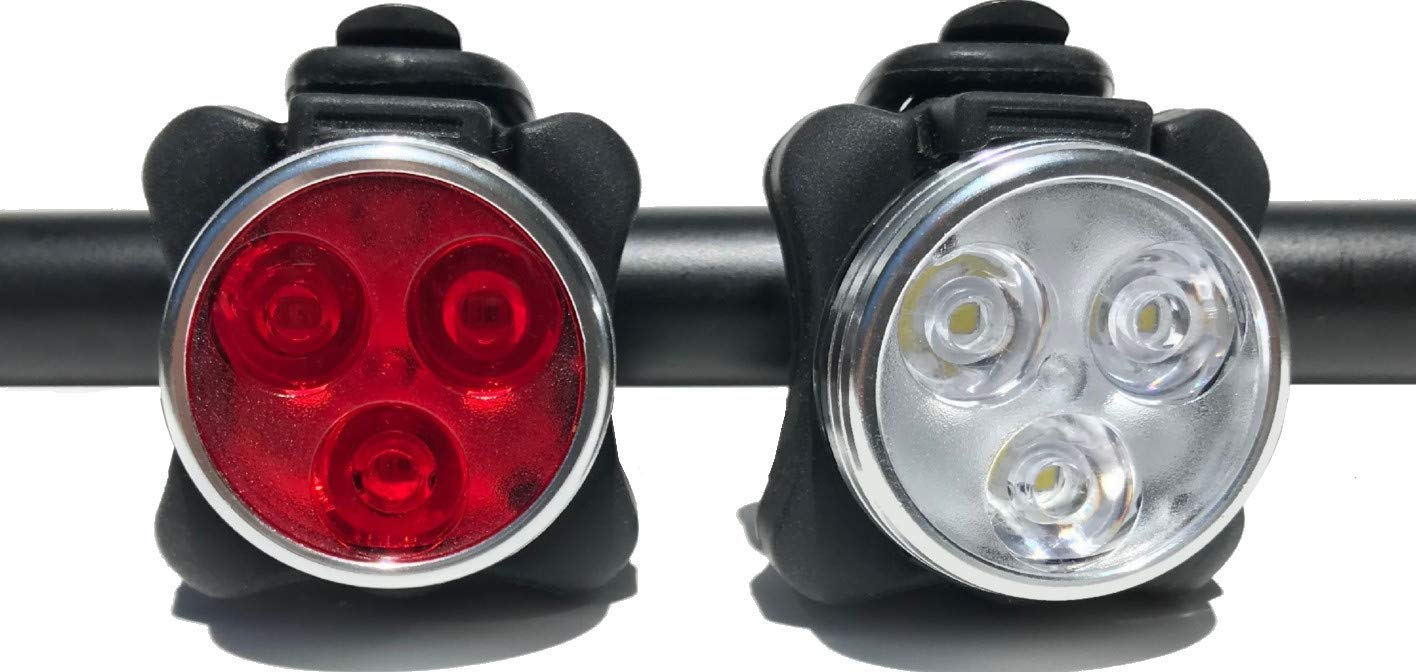 HAKAN LED USB Rechargeable Bicycle Bright Light Set 4 Light Modes IPX4 Water Resistant Mountain Bike Universal FIT with Clip Mount Strap 1 White 1 Red Lights, 2 Bands, 2 USB Plugs