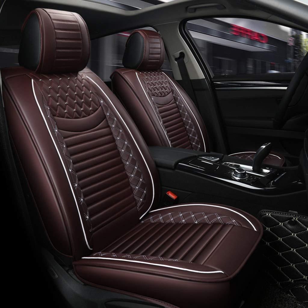 チャイルドシートカバーセット、ユニバーサルチャイルドシートクッション5人乗り車用フロント&リアフルレザーモーション四季パッド対応エアバッグ(カラー:ブラウン)  Brown B07T4J4SPZ
