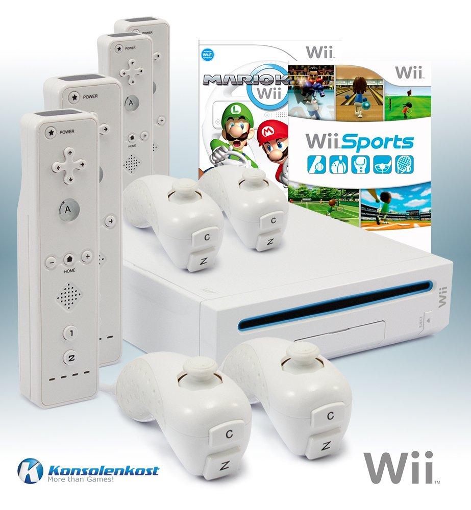Wii Konsole mit Mario Kart, Wii Sports, 4 Remotes und allem nötigen Zubehör