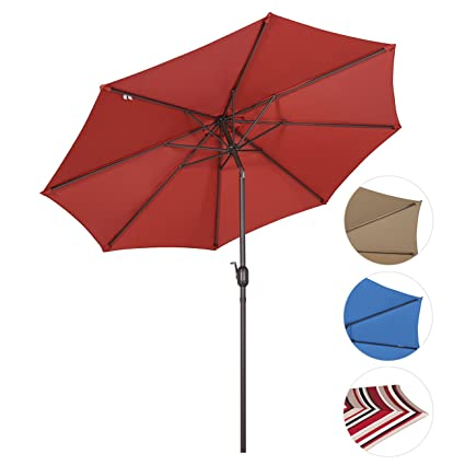 Wonderful Sekey 9ft/2.7m Outdoor Umbrella Red,Patio Umbrella Red Market Umbrella Red  With