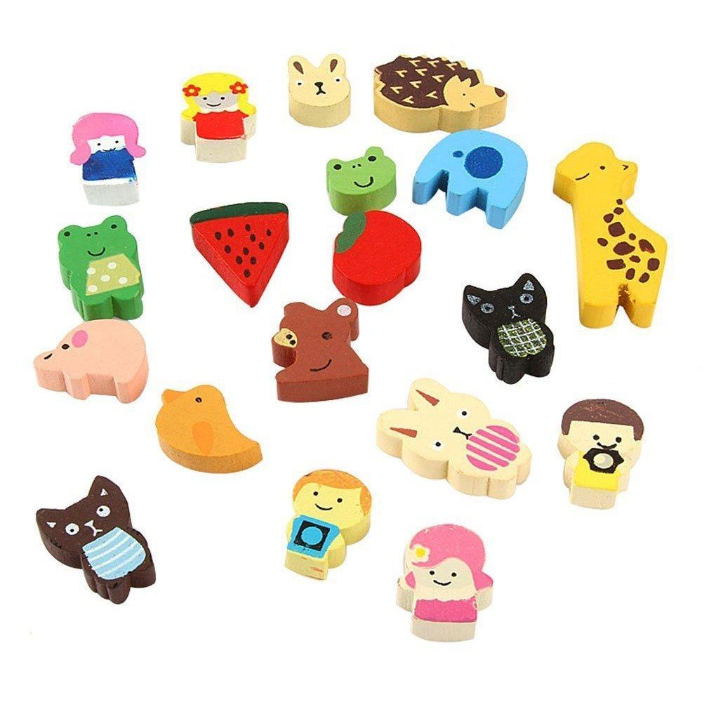 Magnete per frigo - TOOGOO(R) Magnete per frigo in legno di animali divertenti multicolori (Modello casuale, 19 set) SHOMAGT13244