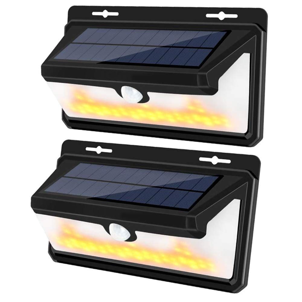 Solar Light Outdoor,270 Wide Angle LED Motion Sensor Wall Lights with Flame,Waterproof Solar Security Lights with 3 Lihgting Modes Motion Activated for Front Door, Yard, Garage, Deck, Porch 2 Pack