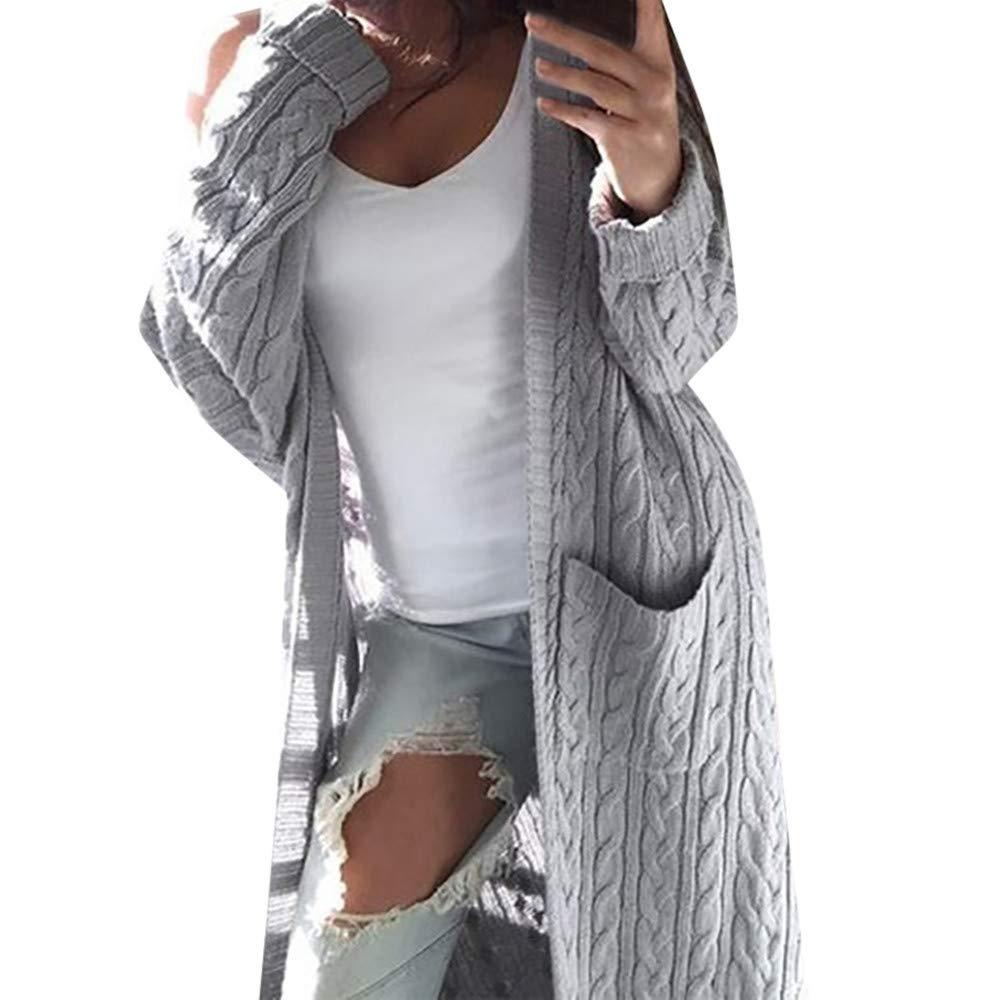 Vibola Women Ladies Winter Long Sleeve Casual Loose Knitted Cardigan Sweater Jumper Coat Tops Beige)