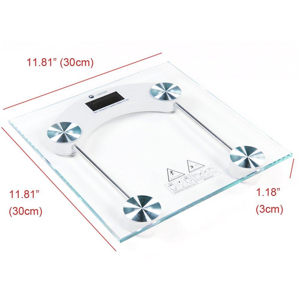 Tri-polar hogar square-shaped Step-On Báscula de baño digital de vidrio templado Pantalla LCD digital de visión nocturna de apagado automático cuerpo escala ...