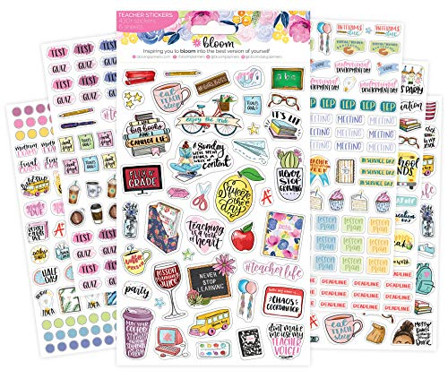 bloom daily planners New Teacher Planner Sticker Pack - School Themed Planning Sticker Sheets - 430 Stickers per (Monthly Color Code Labels)