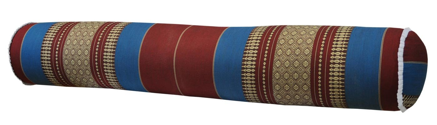 Thai cushion round bolster, pillow, sofa, imported from Thaïland, red/blue, relaxation, beach, pool, meditation garden (81212) by Wilai GmbH