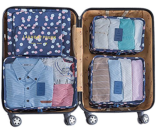 Mossio 7 Set Packing Cubes with Shoe Bag - Travel Carry On Luggage Organizer