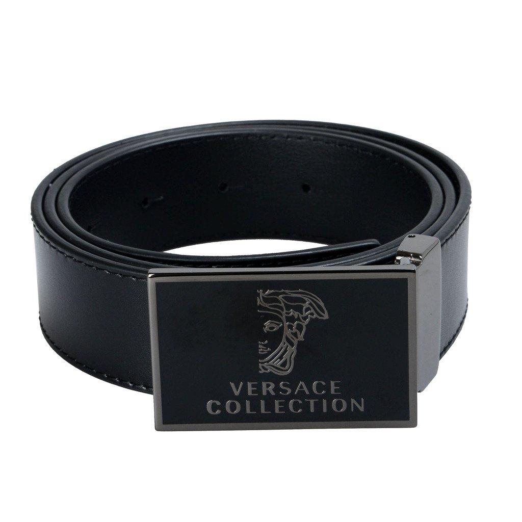 Versace Collection Men's Black Leather Buckle Decorated Belt US 32 Versace Sz 85/100;