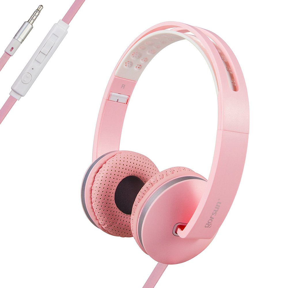 ONTA gorsun Sport Lightweight Foldable Headphones Adjustable On-Ear Headphones Headsets with Mic and Volume Control 3.5mm for Kids Iphone Laptop Computer Mp3/4 Earphones (pink)
