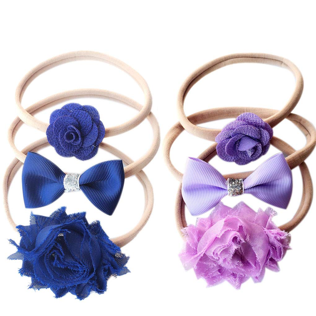 3pcs Girls Bowknot Flower Hairband Nylon Head Wrap Headwear Hair Bow Ring Children Hair Hoop Set