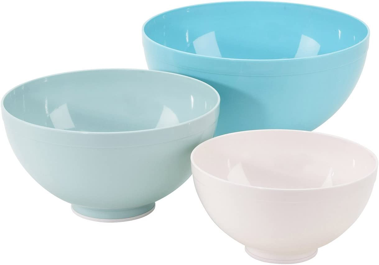 GoodCook Sweet Creations 3-Piece BPA-Free Plastic Nesting Kitchen Mixing Bowl Set, Multicolor