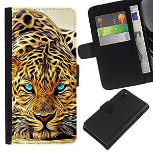 LECELL--Cuero de la tarjeta la carpeta del tirón Smartphone Slots Protección Holder For Sony Xperia Z3 D6603 -- LEOPARD FEROZ JAGUAR PINTURA --