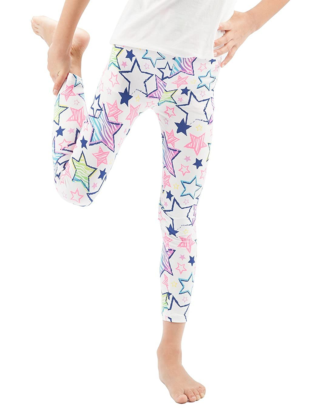 WEWINK PLUS Girls Toddler Leggings Pants 3 Pack Stretchy Printing Flower Classic Leggings for Kids