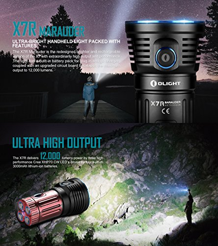 Olight X7R Marauder 12000 Lumens CREE XHP 70 LED USB Rechargeable Flashlight for Camping,Hunting,Searching,with 4 X 18650 Rechargeable Batteries (Built-in) and SKYBEN Accessory by SKYBEN (Image #1)