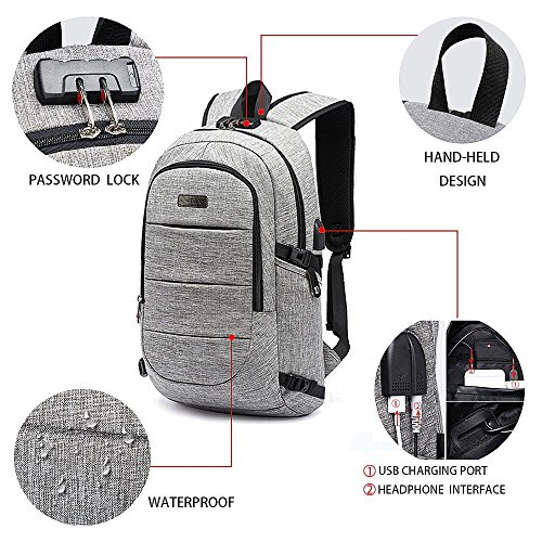 SUMSUNSHINE Laptop Backpack, Anti-theft Business Laptop Backpack with USB Port - Water Resistant Travel Backpack Book School Bag for College Student Work Men & Women by SUMSUNSHINE (Image #2)