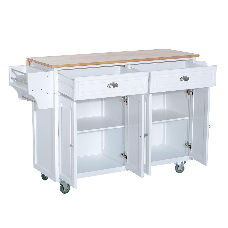 Amazon.com - HOMCOM Rolling Kitchen Island Storage Cart w/Drop Leaf ...
