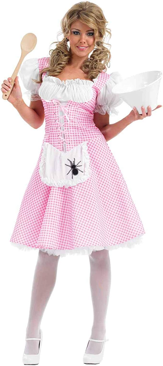 Womens Pink Little Miss Muffet Nursery Rhyme World Book Day Fancy Dress Costume