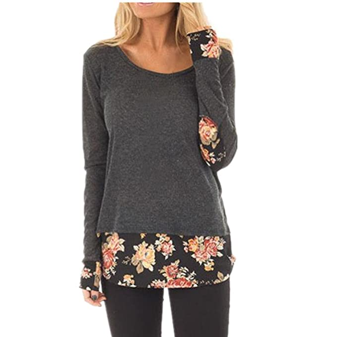 ab8bb9e7ca78 Anglewolf Fashion Women Ladies Casual Fake Double Layers Floral Printing  Patchwork Long Sleeve T-Shirt Tops Blouse Soft Cotton Bottom Shirts   Amazon.co.uk  ...