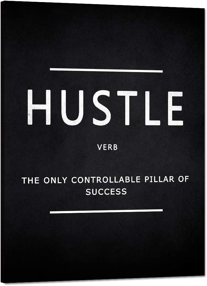 """Inspirational Wall Art Hustle Verb Motivational Canvas Painting Modern Inspiring Entrepreneur Quotes Posters and Prints Artwork Inspiration Motivation Office Home Classroom Decorations (18""""Wx24""""H)"""