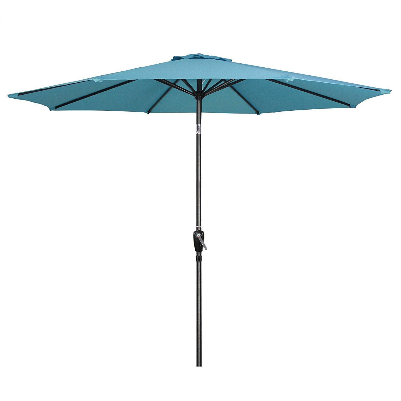 G-House 9 Ft Garden Patio Umbrella Outdoor Table Umbrella with Push Button Tilt and Crank, Sturdy Steel, 8 Ribs (Sky Blue)