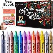 #LightningDeal Paint Pens for Rock Painting, Ceramic, Porcelain, Glass, Wood, Fabric, Canvas. Set of 12 Acrylic Paint Markers Medium Tip