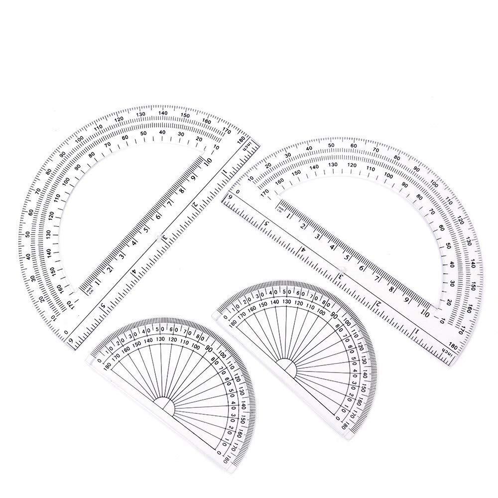 180 Degree Protractor - 2+2 Pack Plastic Protractors 180 Degrees, 6 Inches And 4 Inch, Clear - Samoda by Samoda