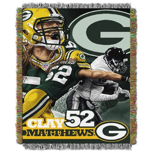 Northwest NFL 051 Clay Matthews - Packers Player Woven Tapestry Throw Blanket (48