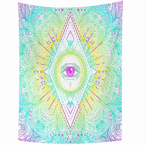 AlliuCoo Wall Tapestries 60 x 80 Inches Sacred Geometry Symbol All Seeing Eye Acid Colors Mystic Alchemy Occult Indie Music Home Decor Wall Hanging Tapestry Living Room Dorm -