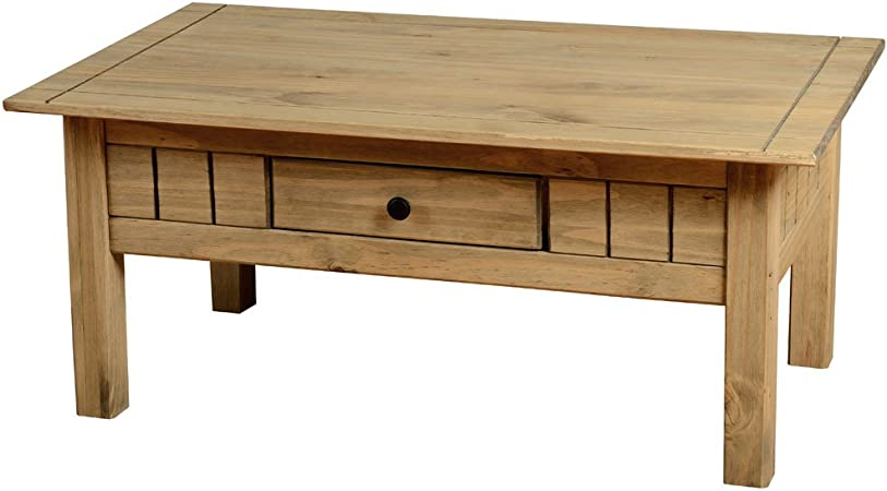 Table basse PANAMA 1 tiroirs massif ciré Pin Rustique salon mobilier