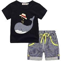 Morwind ♛Vestiti Ragazzi12-18 Mesi♛Vestiti Bimbo 3 Anni Vestito Pantaloncino Bimba Bambino Bambini Cartoon T-Shirt Top + Strisce Pantaloni Corti Vestito Set