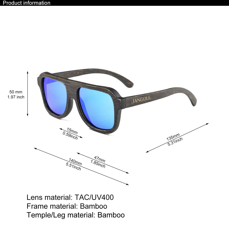 737b5bfd66 Amazon.com  Polarized Bamboo Wooden Frame Sunglasses with UV400 Lenses  JANGOUL (Black Frame