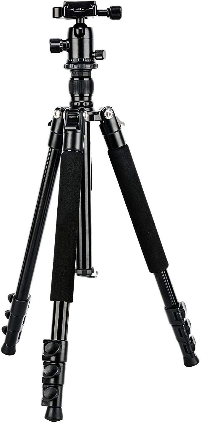 OMLTER Professional Camera Tripod Aluminium Compact Lightweight with 360 Degree Ball Head and 1//4 Quick Release Plate for Digital SLR and DV Camera,Black