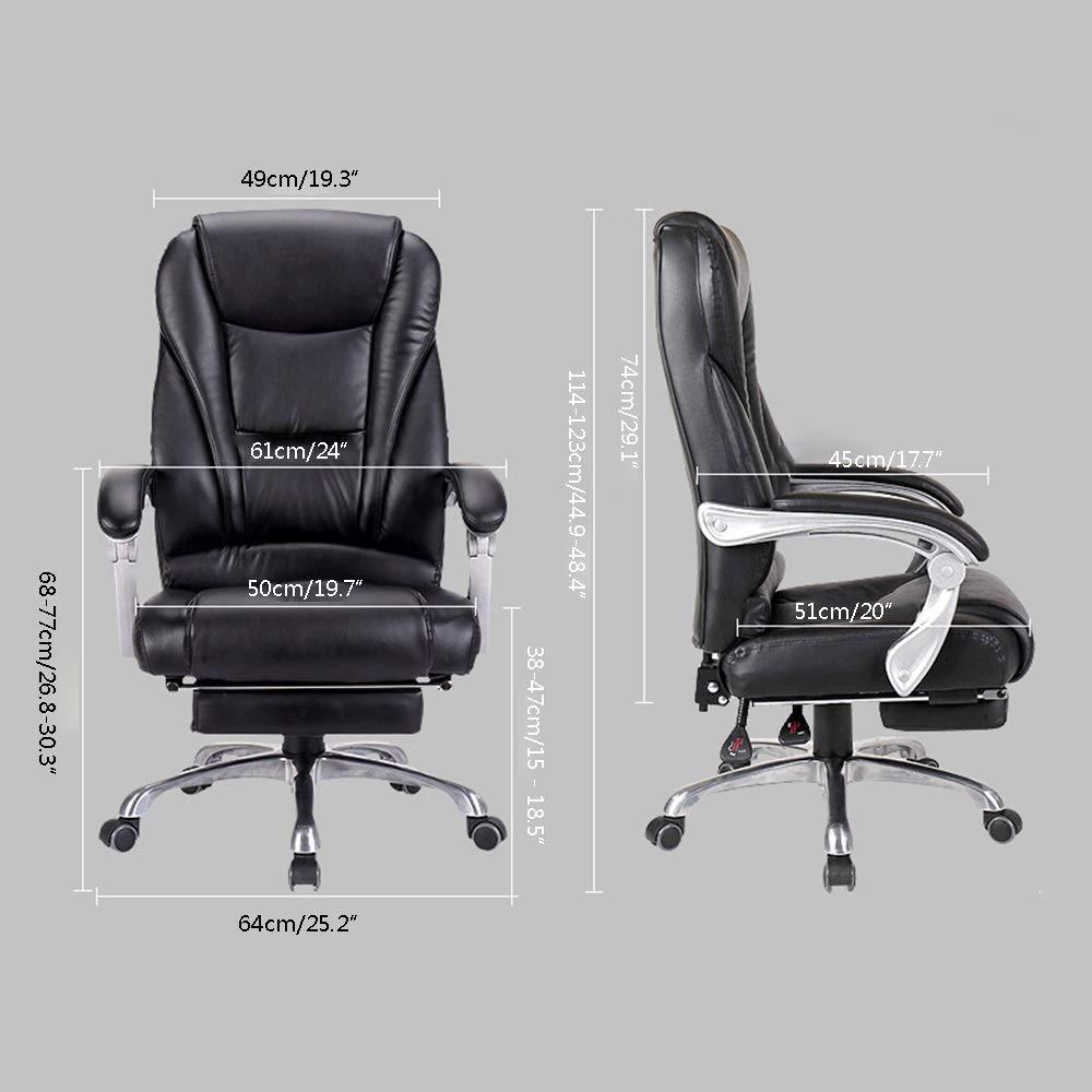 JIEER-C stol datorstol hög rygg datorstol med fotstöd vilande chef stol dubbel tjock kudde ergonomisk verkställande kontorsstol för kontor kontor, svart Svart