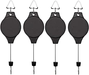 EWONICE 4Pack Retractable Plant Pulley Hanging Basket Hooks, Adjustable Rope Clip Hanger for Garden Hanging Basket Pots