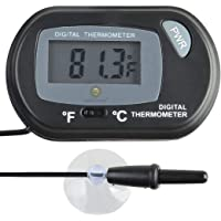 SunGrow LCD Digital Betta Thermometer by Maintains Betta's Natural Habitat - Protect from Diseases - Easy to Install - Comes with 2 Suction Cups and Battery - Accurately Reads Tank Water Temperature