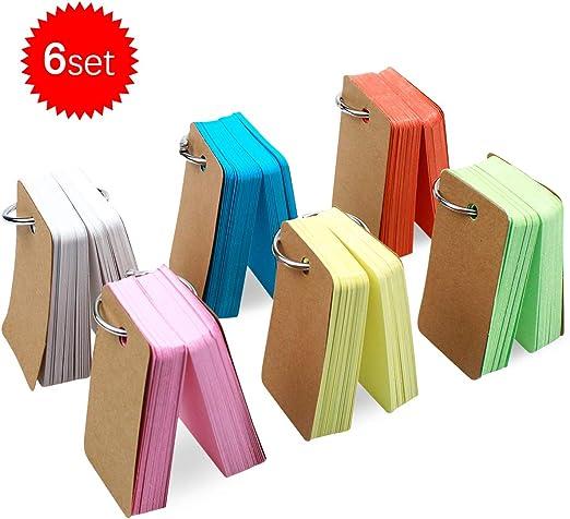 Natuce 498PCS Tarjetas de Estudio de Papel Kraft, 6 Pack Tarjetas de Papel Kraft 4 x 7cm, Portátil Tarjeta De Nota, Tarjeta De Índice, Tarjetas de Notas de Estudiar,Tarjeta de felicitación: Amazon.es: