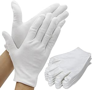 Amariver White Cotton Gloves, 6 Pairs 8.6'' Large Size Thicker Works Lining Gloves for Coin Jewelry Silver Inspection Formal Marching Band Parade, 12 Pieces Gloves in Total