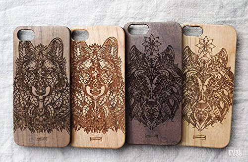 Awesome Contact Lenses (Woof Pattern - Miniwood iPhone/ Samsung Case - Natural Real Wooden, Protective Bumper with Real All Wooden Cover, Unique Case, Laser Engraving, Wooden Case for Your)