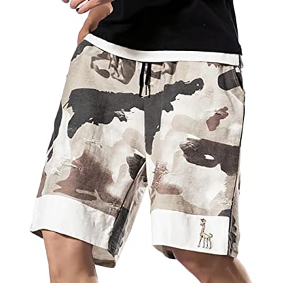 ARTFFEL Men Casual Camouflage Print Drawstring Zip-Up Workout Long Pants