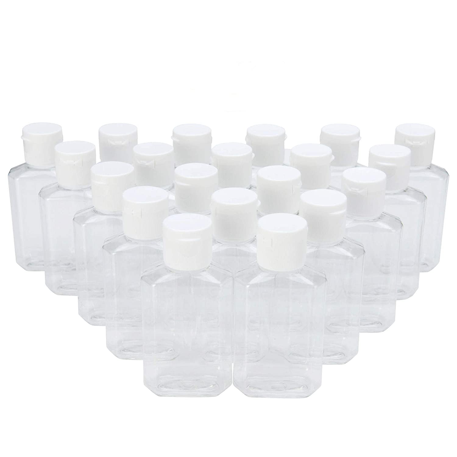 Mile High Online MHO Containers | Clear Refillable Flip-Top Bottles - BPA/Paraben Free 60mL/2oz- Set of 20