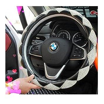 38CM 15Car Steering Wheel Cover Bling Rhinestone Leather Handcraft Car