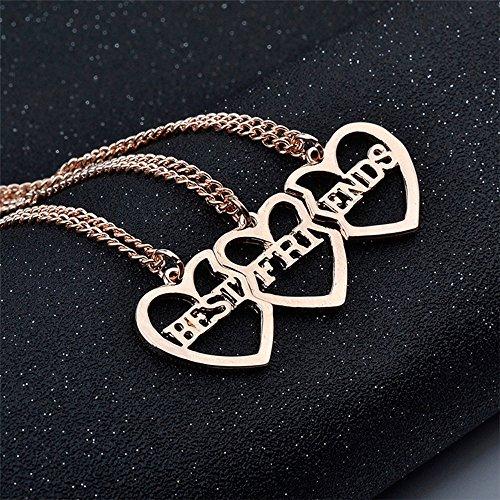 Elegant Rose 2 piezas Best Friends Forever BFF plata coraz/ón clave Colgante Collar Conjunto Amistad accesorios